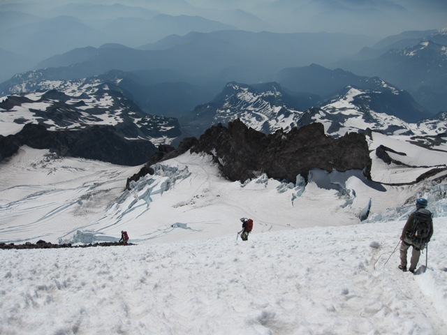 Coming down off the Mt. Rainier Summit 2009 (Photo by Peter Litwin)